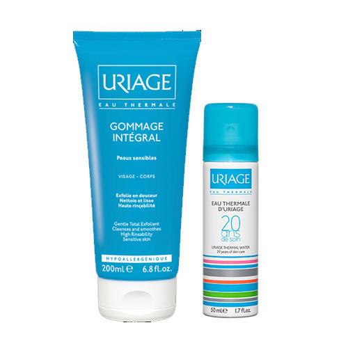 Набор ГоммажИнтеграль 200 мл Термальная вода 50 мл (Uriage, Гигиена Uriage) термальная вода для лица виши