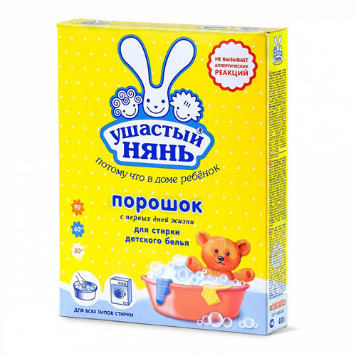 Ушастый нянь Стиральный порошок для детского белья 400 гр (Средства для стирки для детей)