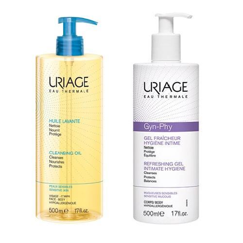 Uriage Комплект Очищающее пенящееся масло, 500мл+Гель для интимной гигиены Жин-Фи, 500мл (Uriage, Интимная гигиена)