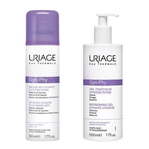 Uriage Комплект Жин-Фи Очищающая дымка-спрей для интимной гигиены, 50мл+Гель для интимной гигиены, 500мл (Uriage, Интимная гигиена)