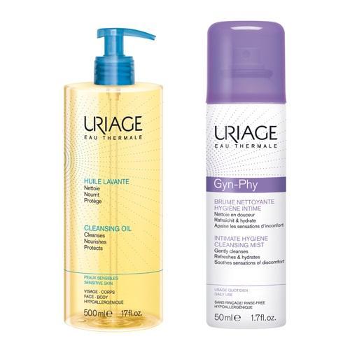 Uriage Комплект Очищающее пенящееся масло, 500мл+Очищающая дымка-спрей для интимной гигиены Жин-Фи, 50мл (Uriage, Интимная гигиена)