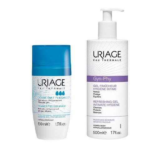 Uriage Комплект Дезодорант тройного действия ролик, 50мл+Гель для интимной гигиены Жин-фи, 500мл (Uriage, Гигиена Uriage) фото