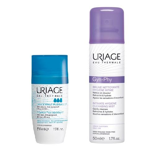 Uriage Комплект Дезодорант тройного действия ролик, 50мл+Очищающая дымка-спрей для интимной гигиены, 50мл (Uriage, Гигиена Uriage)