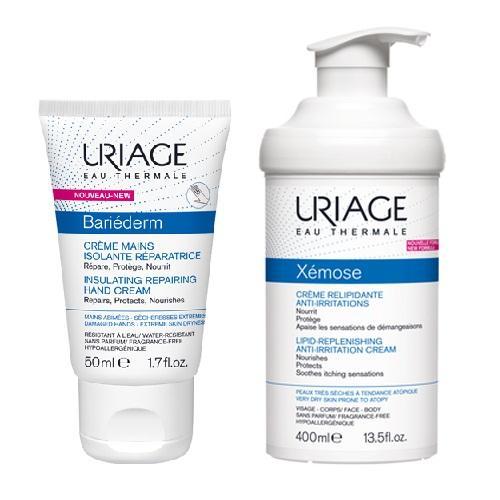 Uriage Комплект Изолирующий восстанавливающий крем для рук, 50мл+Крем липидовосстанавливающий, 400мл (Uriage, Bariederm)