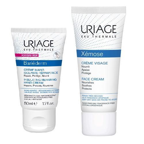 Купить Uriage Комплект Изолирующий восстанавливающий крем для рук, 50мл+Ксемоз Крем для лица, 40мл (Uriage, Bariederm), Франция
