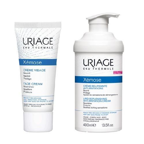 Купить Uriage Комплект Ксемоз Крем для лица, 40 мл + Крем липидовосстанавливающий, против раздражений 400мл (Uriage, Xemose), Франция
