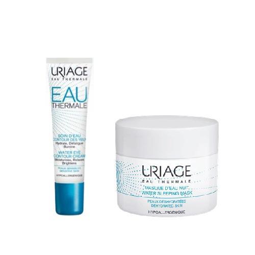 Купить Uriage Комплект Увлажняющий крем для контура глаз, 15мл+Ночная увлажняющая маска, 50мл (Uriage, Eau thermale), Франция