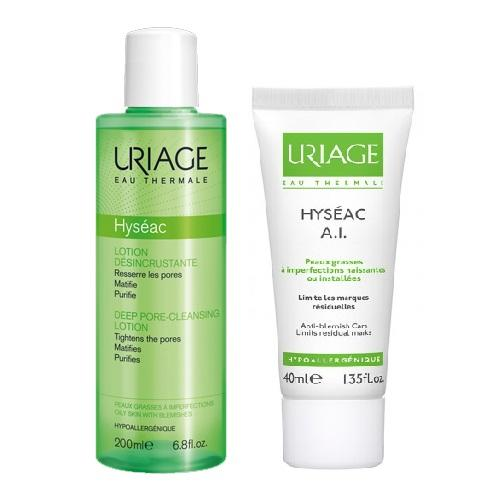 Купить Uriage Комплект Исеак Лосьон для глубокого очищения пор, 200мл+А.I эмульсия ля жирной проблемной кожи, 40мл (Uriage, Hyseac), Франция