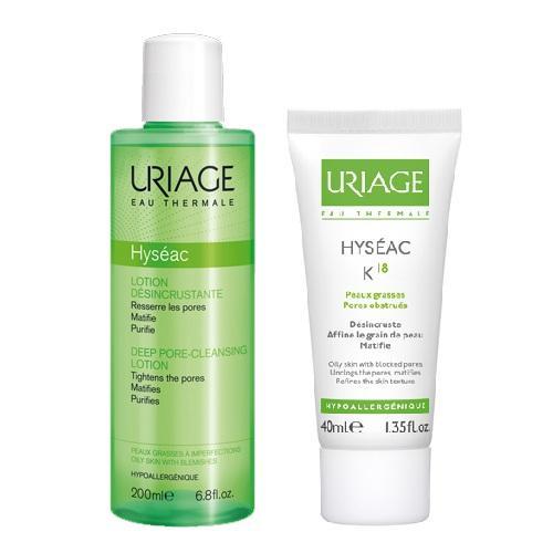 Купить со скидкой Uriage Комплект Исеак Лосьон для глубокого очищения пор, 200мл+Эмульсия К18, 40мл (Uriage, Hyseac)