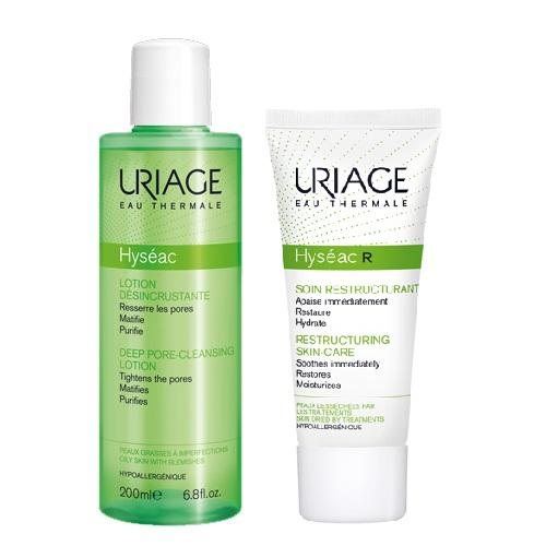 Uriage Комплект Исеак Лосьон для глубокого очищения пор, 200мл+R Восстанавливающий уход, 40мл (Uriage, Hyseac)