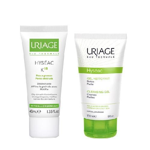 Uriage Комплект Исеак Эмульсия К18, 40мл+Мягкий очищающий гель, 150мл (Uriage, Hyseac) урьяж исеак уход 40мл матирующий
