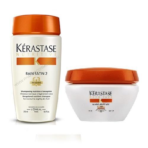 Купить Kerastase Комплект Шампунь-Ванна САТИН №2, 250мл+Маска Интенс для сухих и чувствительных волос, 200мл (Kerastase, Nutritive), Франция