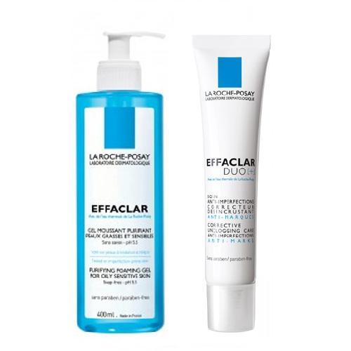 La Roche-Posay Комплект Эфаклар Очищающий гель, 400мл+Корректирующий крем-гель для проблемной кожи, 40мл (La Roche-Posay, Effaclar)