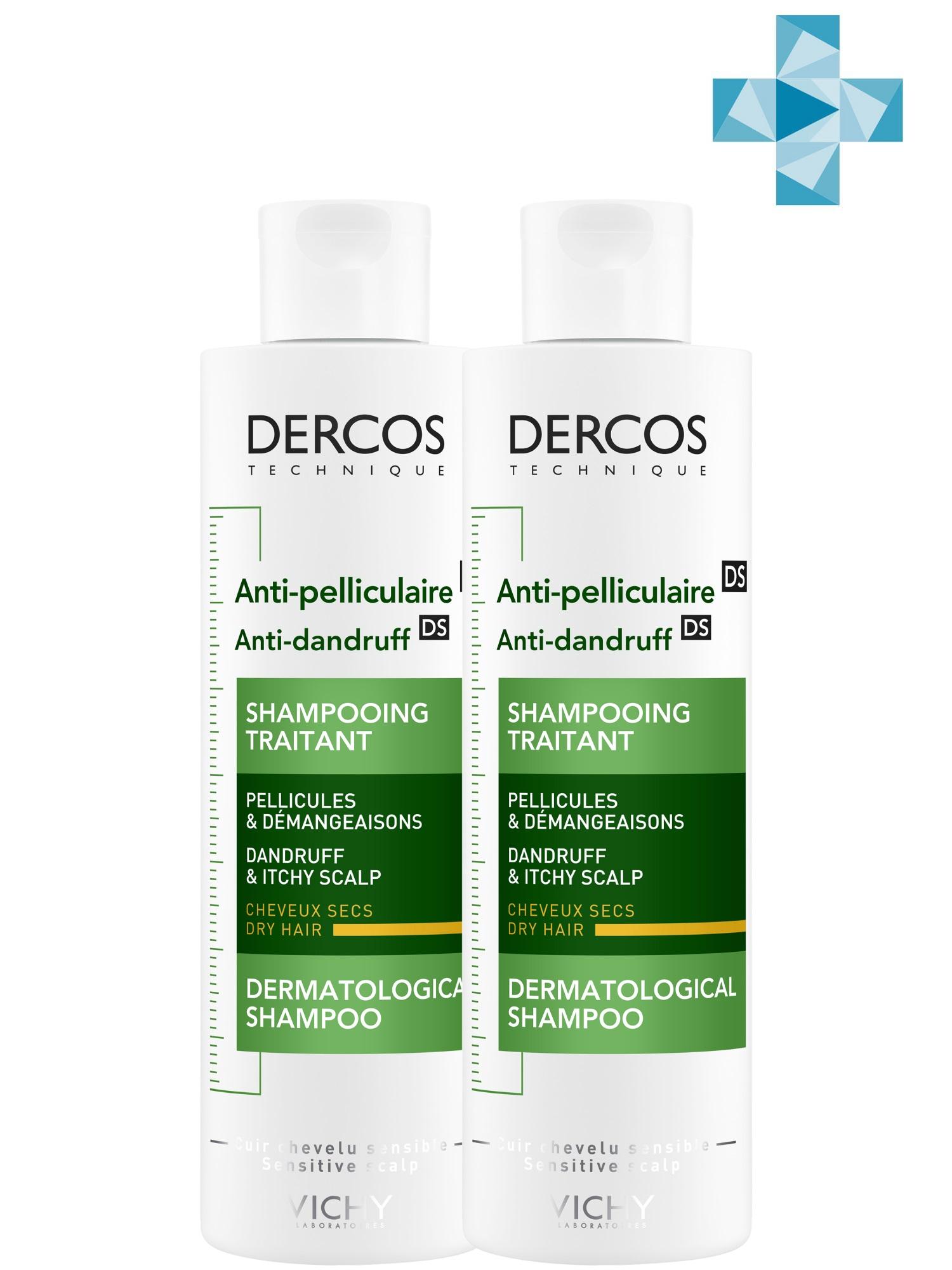 Купить Vichy Комплект Деркос Интенсивный Шампунь-уход против перхоти питательный для сухих волос, 2 шт. по 200 мл (Vichy, Dercos), Франция
