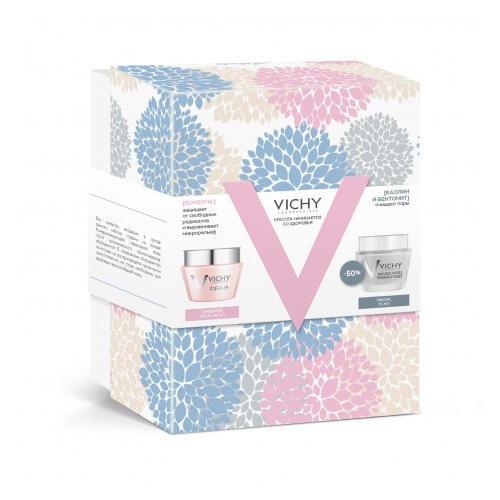 Vichy Набор: Идеалия дневной крем для нормальной кожи 50 мл + Очищающая маска с глиной 75 мл (Idealia)