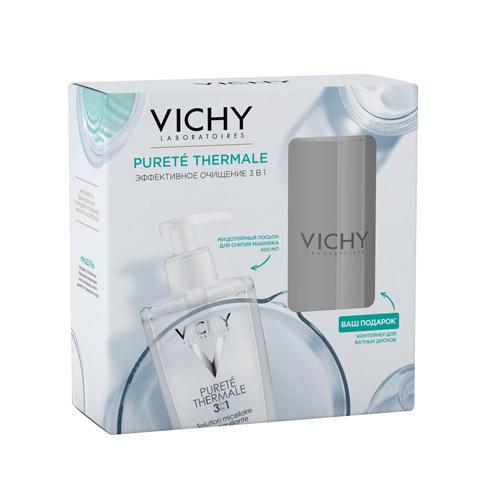 Мицеллярный лосьон для Пюрте Термаль 400 мл Контейнер для ватных дисков (Vichy, Purete Thermal) vichy тоник для чувствительной кожи без парабенов очищающее средство пюрте термаль 200 мл