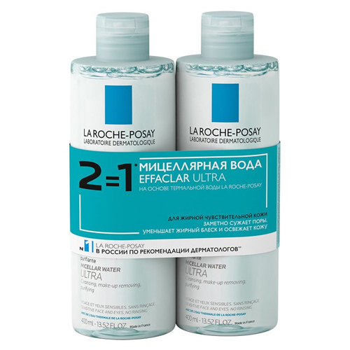 La Roche-Posay Мицеллярная вода Effaclar Ultra 400 мл х 2 шт. (La Roche-Posay, Effaclar) la roche posay effaclar крем h увлажняющий успокаивающий 40 мл