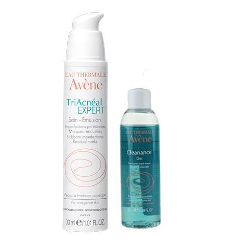 Набор Триакнеаль Эксперт Регулирующая разглаживающая эмульсия 30 мл + Очищающий гель Клинанс 50 мл (Жирная и комбинированная кожа) (Avene)