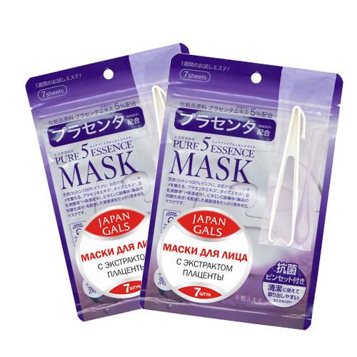 Набор масок Japan Gals Маска с плацентой Pure5 Essential  по 7 шт.х 2. Скидка на вторую 50% (Pure5)