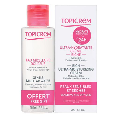 Topicrem Набор: Насыщенный ультра-увлажняющий крем для лица 40 мл + Мицеллярная вода 100 мл (UM Face)