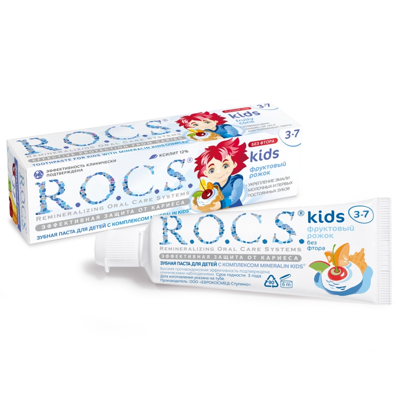 R.O.C.S Зубная паста Рокс Для детей Фруктовый рожок 45 гр (R.O.C.S, Kids 3-7 years) зубная паста для детей 7 14лет bio