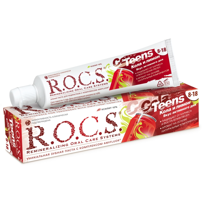 Купить R.O.C.S Зубная паста R.O.C.S Teens Кола и Лимон 74 гр. (R.O.C.S, Teens 8-18 years), Россия