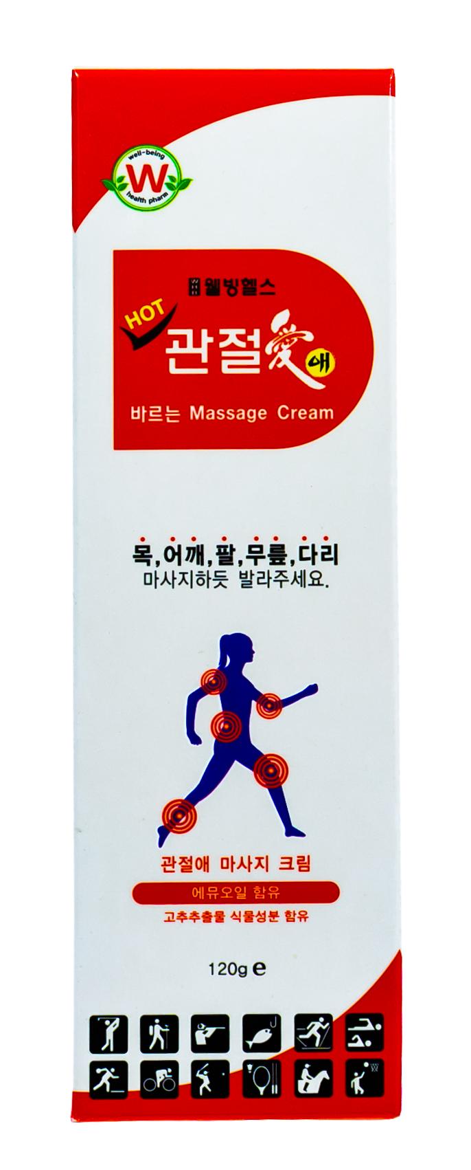 Купить Well Being Крем массажный для тела разогревающий для мышц и суставов 120гр (Well Being, Для тела), Южная Корея
