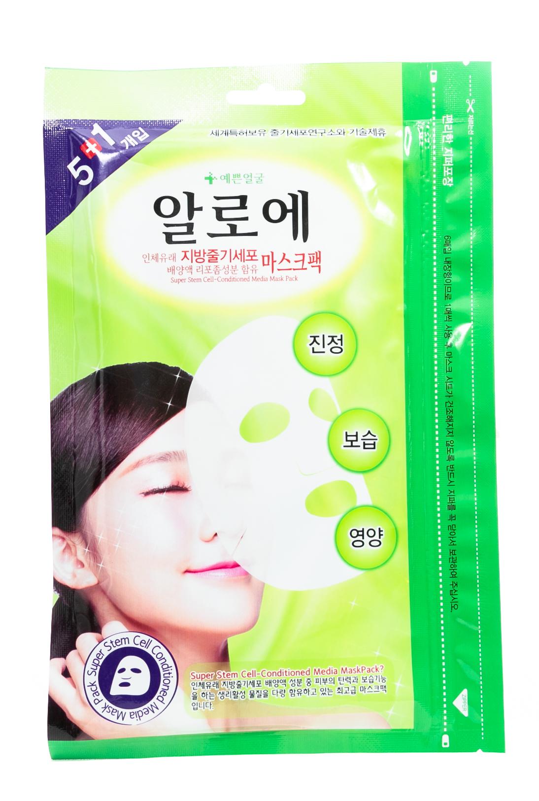 Купить Well Being Маска для лица 5+1 Успокаивающая с алоэ и стволовыми клетками 120гр (Well Being, Для лица), Южная Корея